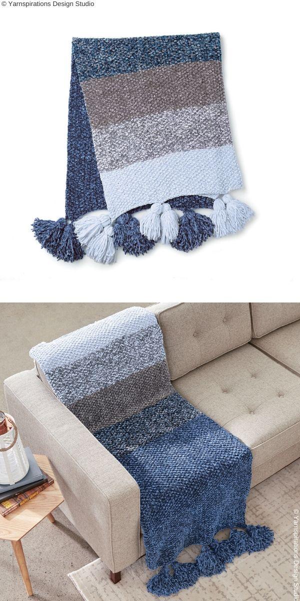 Blue Velvet Fade BlanketFree Knit Pattern