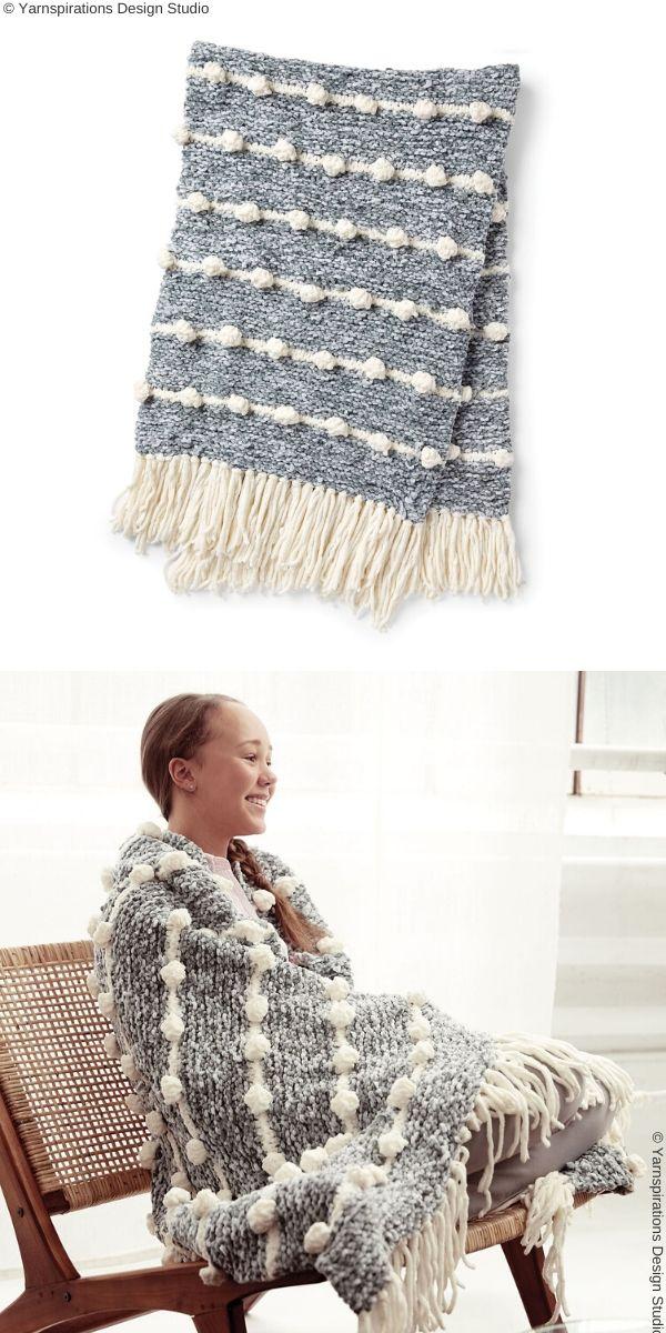 Bobble Line BlanketFree Knit Pattern