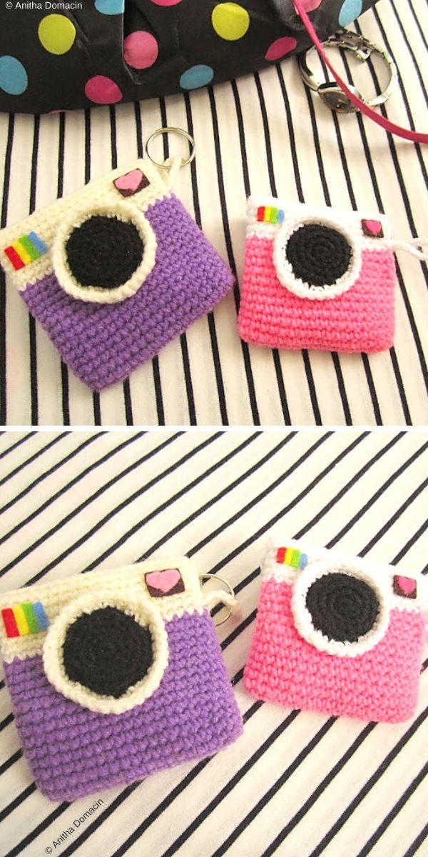 Instagram:Camera coin purse Free Crochet Pattern