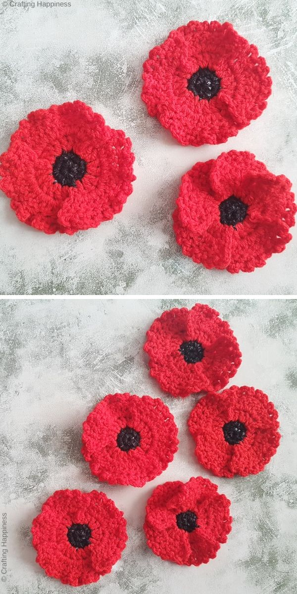 One Piece Poppy Flower Applique Free Crochet Pattern
