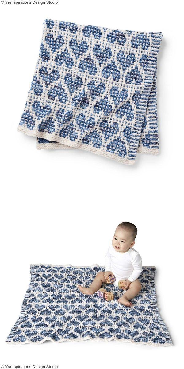 Party Heart-Y Mosaic Blanket Free Knit Pattern