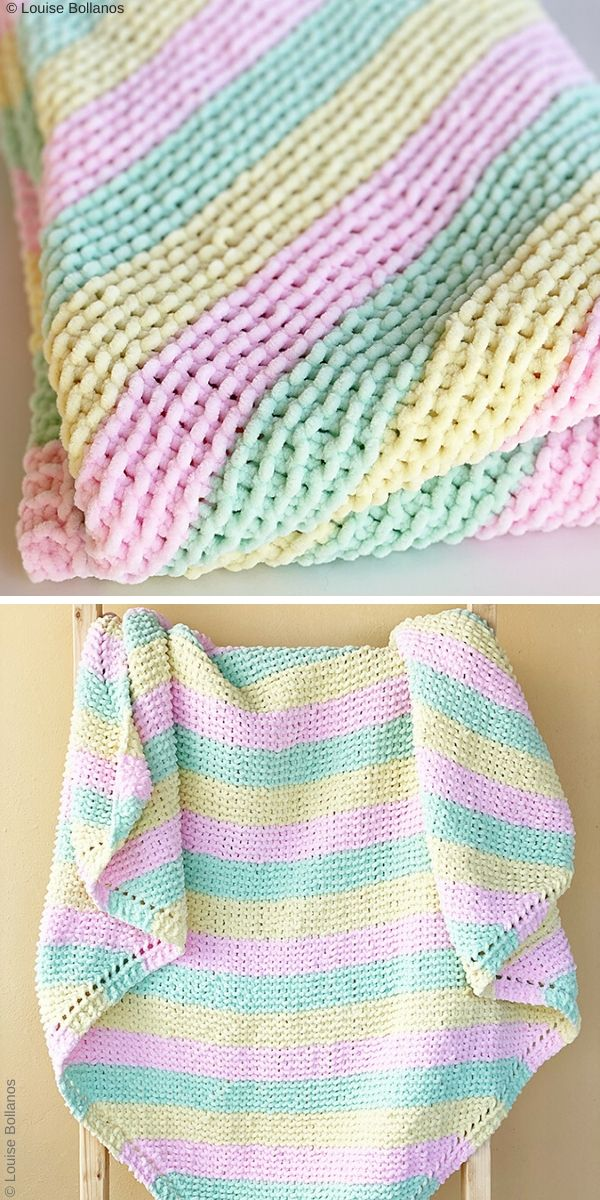 Pastel Stripes Baby Blanket Free Knit Pattern