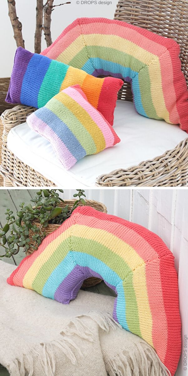Rainbow Arch Cushion Free Knitting Pattern