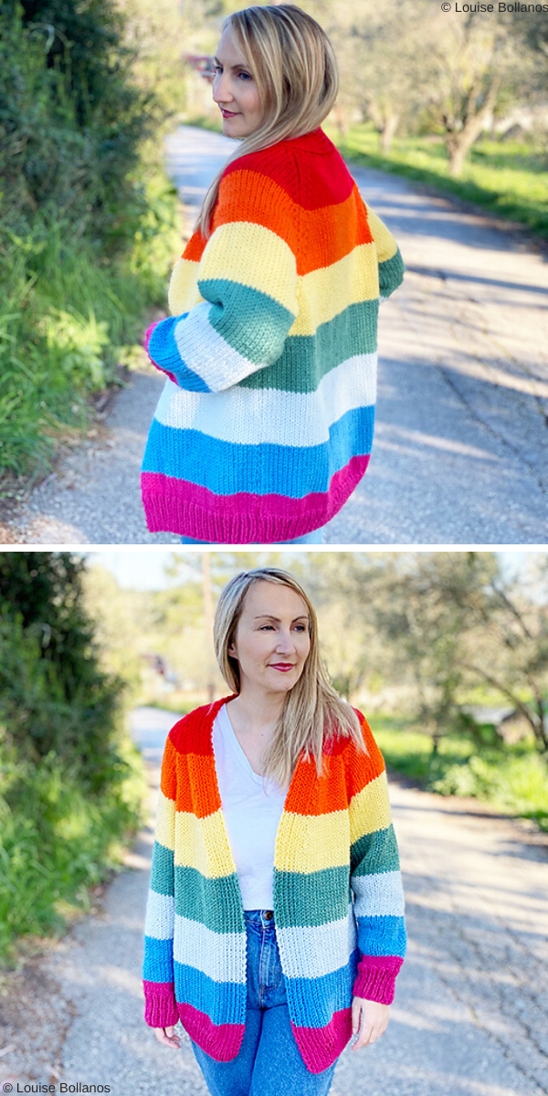 Rainbow Cardigan Free Knit Pattern