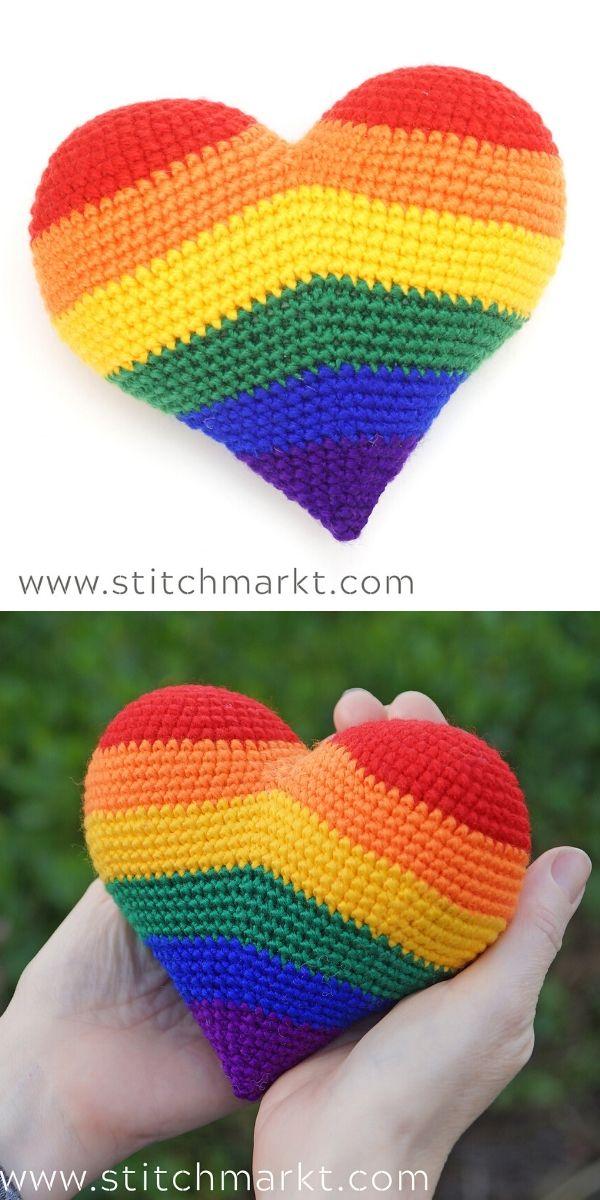 Rainbow HeartCrochet Pattern