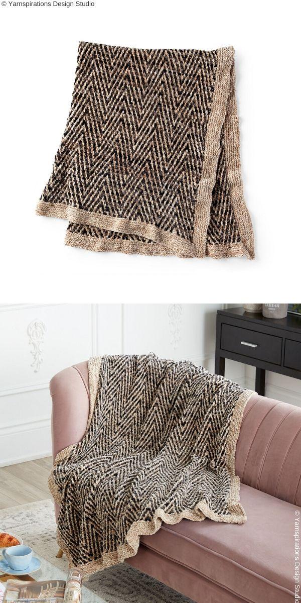 Two Tone BlanketFree Knit Pattern