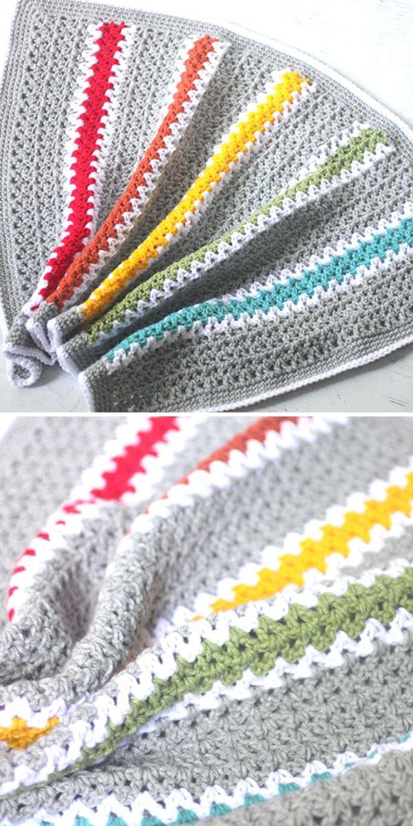V-stitch Rainbow Blanket Free Crochet Pattern