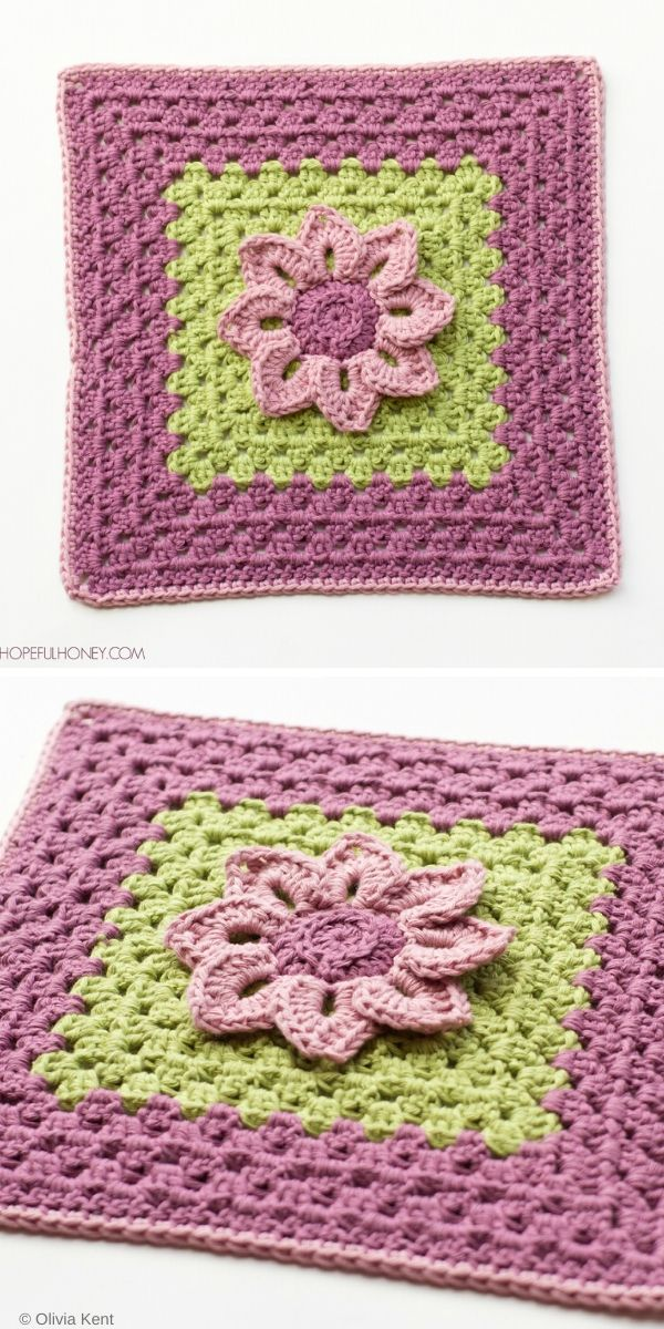 Water Lily Afghan Square Free Crochet Pattern