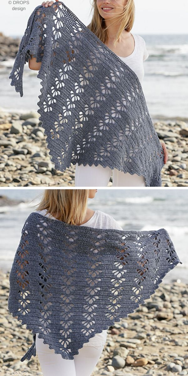 Wave Whisperer Shawl Free Crochet Pattern