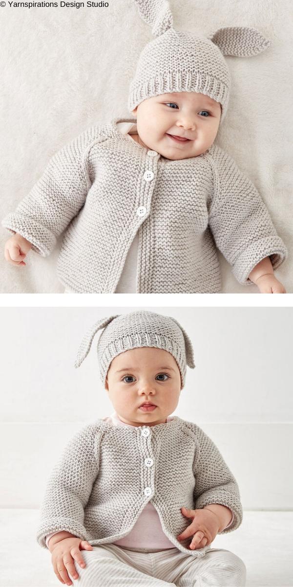Knit Baby Jacket Set: Sweater Free Knitting Pattern