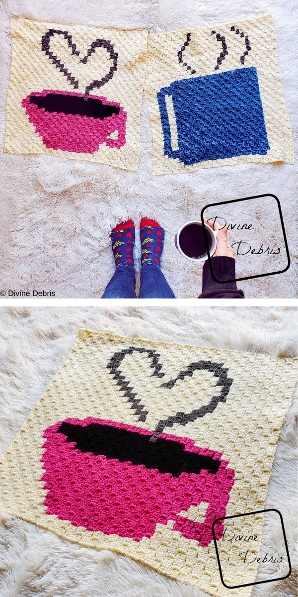 C2C Heart and Coffee Cup Afghan Square Free Crochet Pattern