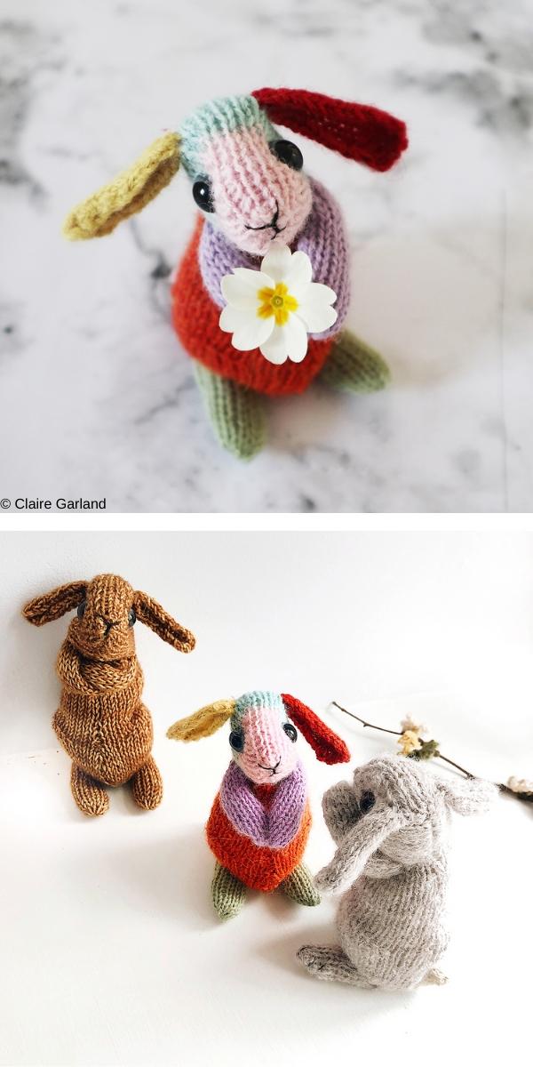 Beginner's Rainbow Rabbit Free Knitting Pattern