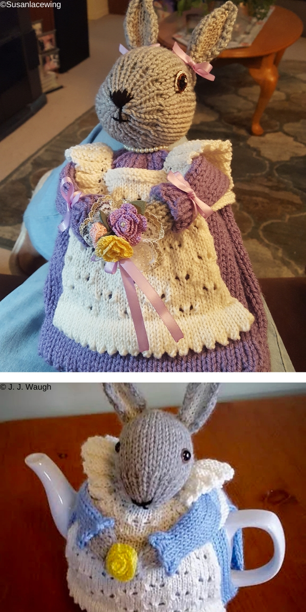 Mrs. Bunny Rabbit Tea Cozy Free Knitting Pattern