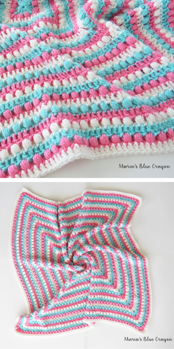 Bobbles and Stripes Granny Square Blanket Free Crochet Pattern