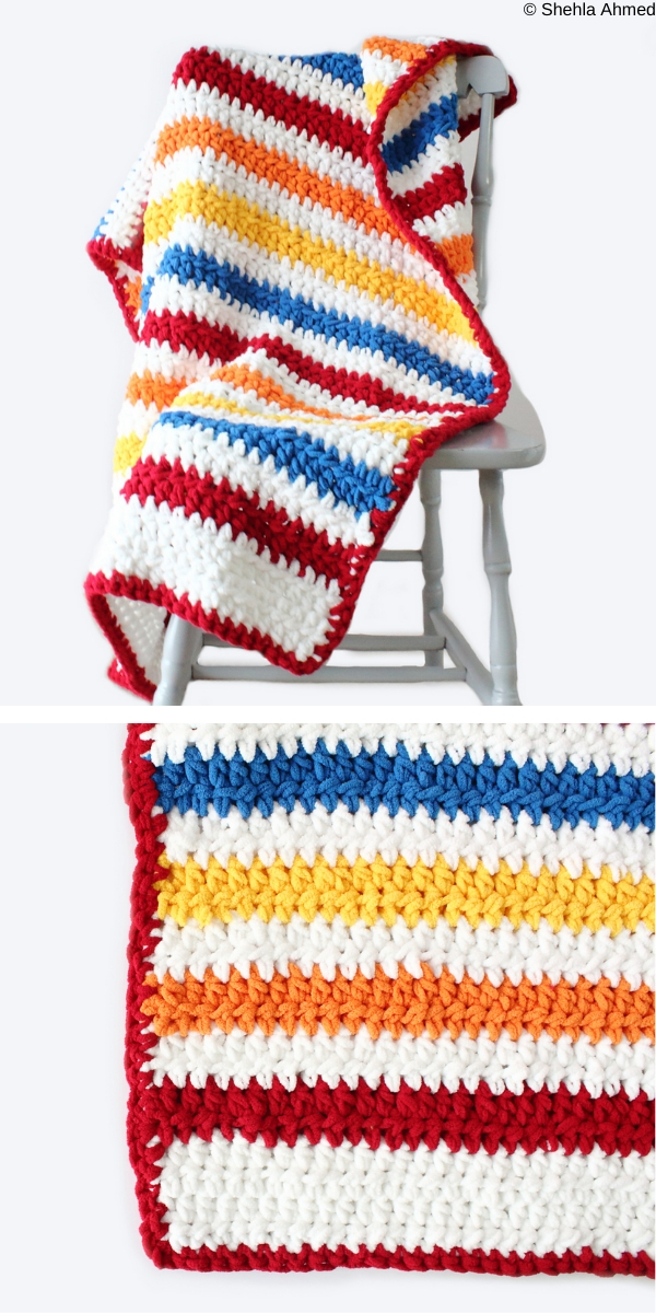 Stripey Days Baby Blanket Free Crochet Pattern