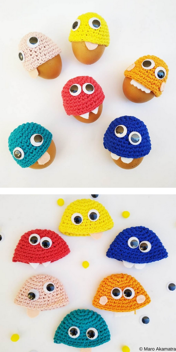 Monsters Egg Cozies Free Crochet Pattern