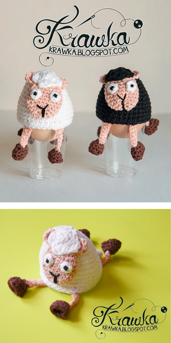 Easter egg cozies - Silly Sally Sheep Free Crochet Pattern