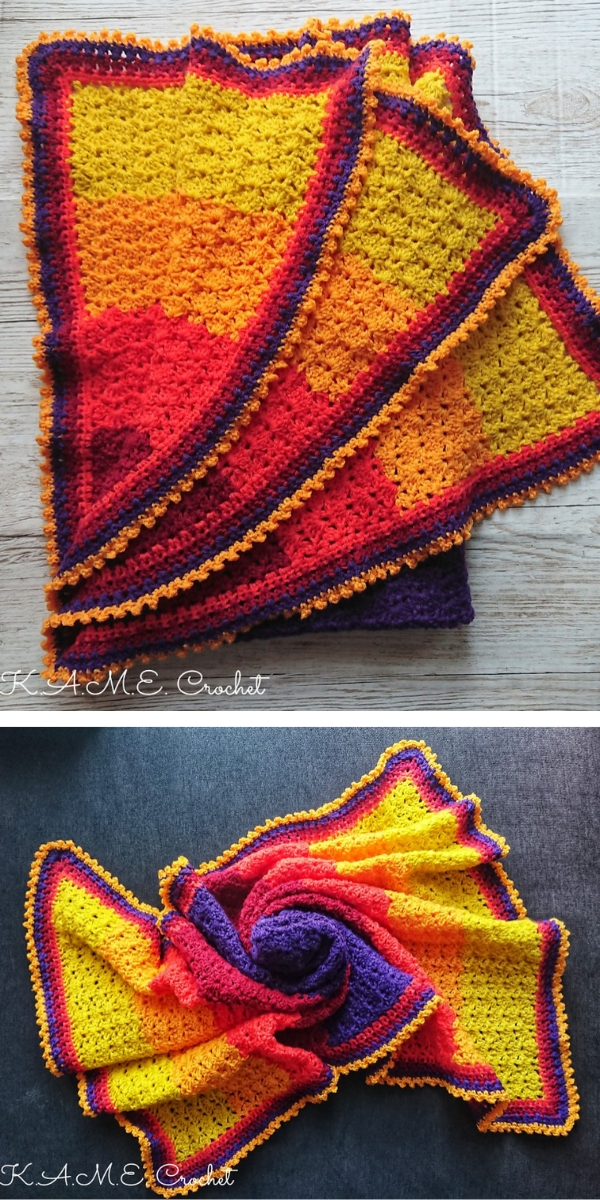 Tropical Sunset Baby Blanket mini CAL Free Crochet Pattern