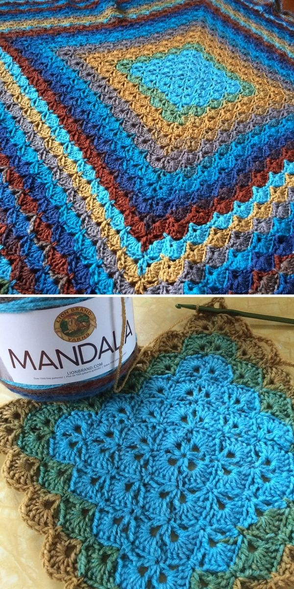 blue and brown shells blanket