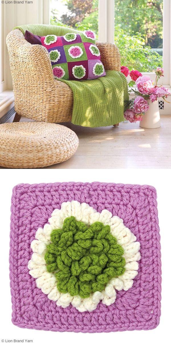 Big Bloom Block & Pillow Free Crochet Pattern