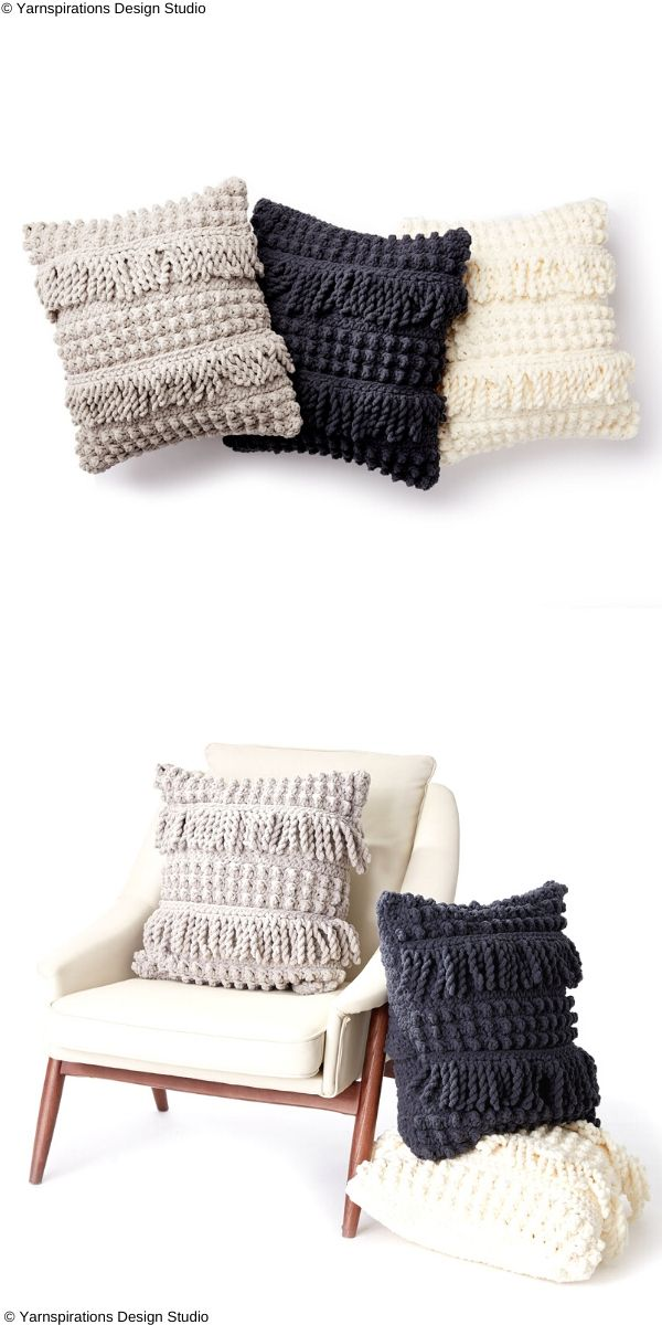 Bobble and Fringe Pillow Free Crochet Pattern