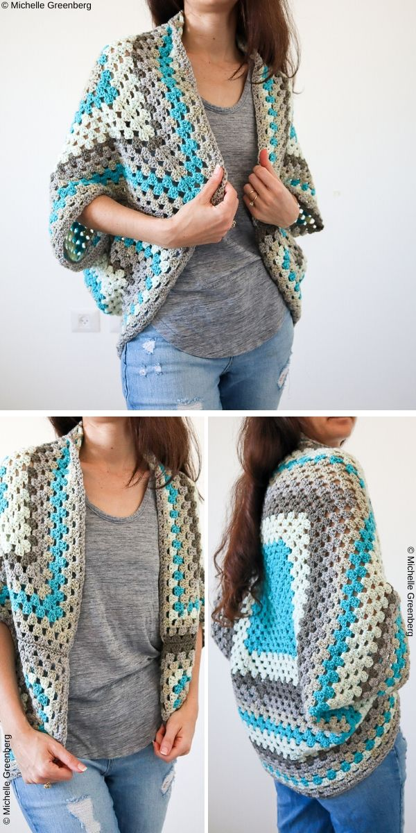 Continuous Granny Square Shrug Free Crochet Pattern