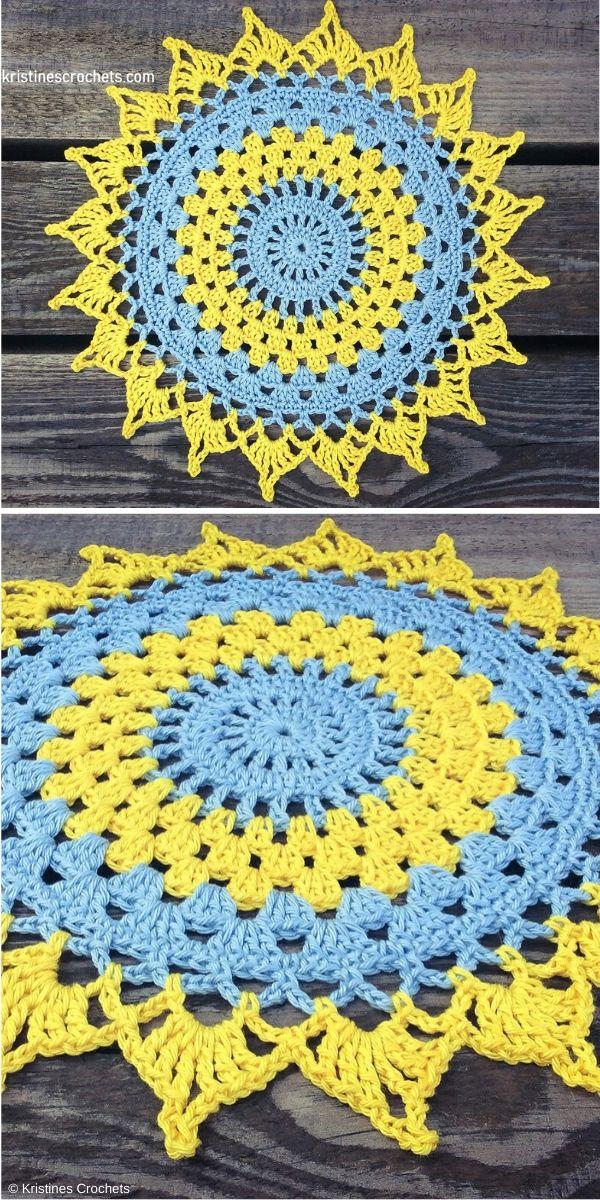 Doily Placemat Mandala Free Crochet Pattern