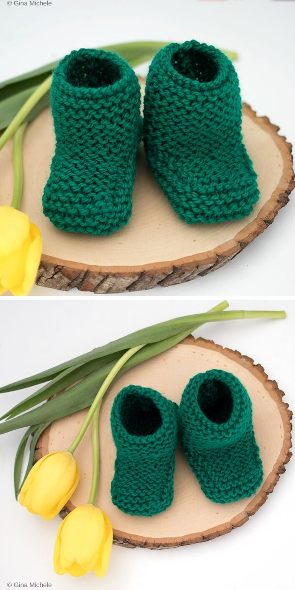 Garter Stitch Booties Free Knitting Pattern