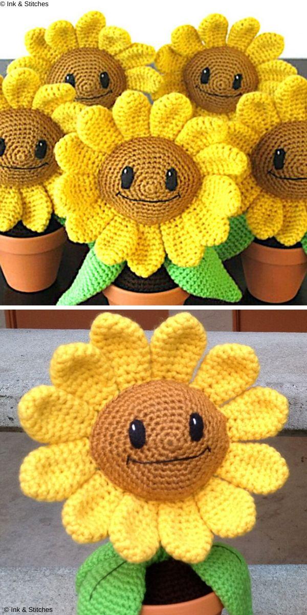Happy Sunflower Amigurumi Free Crochet Pattern
