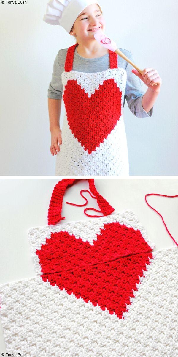 Heart C2C Child ApronFree Crochet Pattern