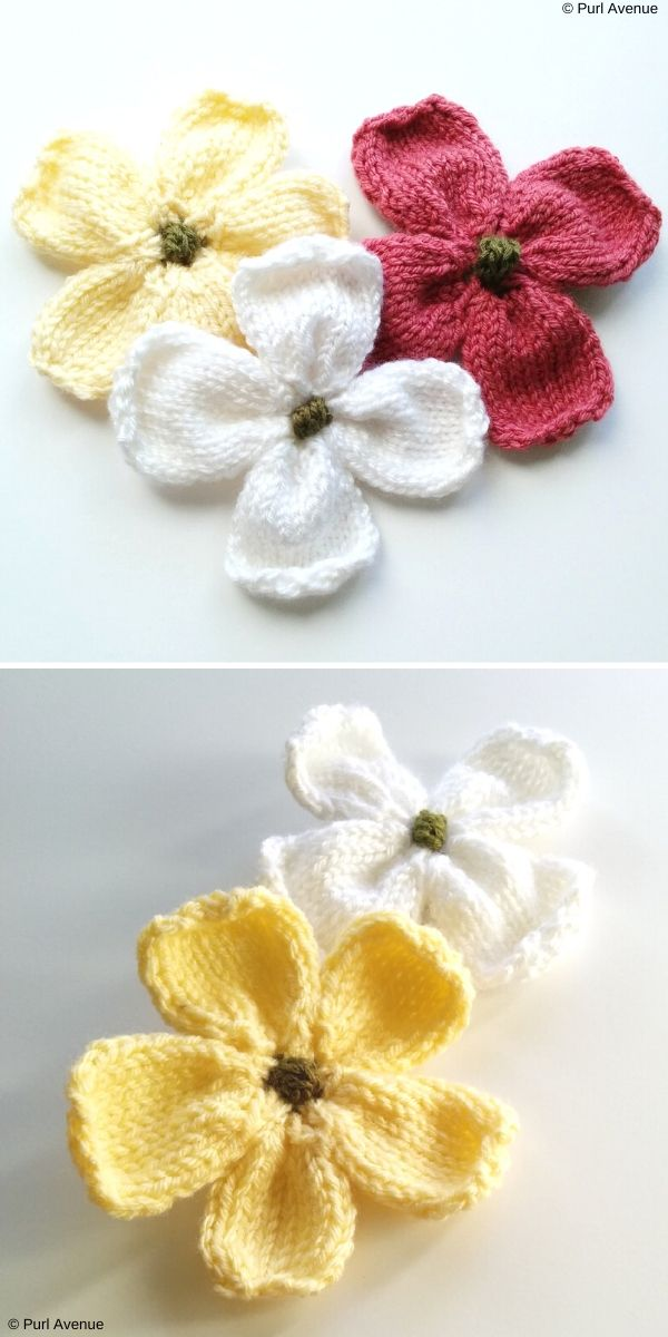 Knitted Dogwood Blossoms Free Knitting Pattern