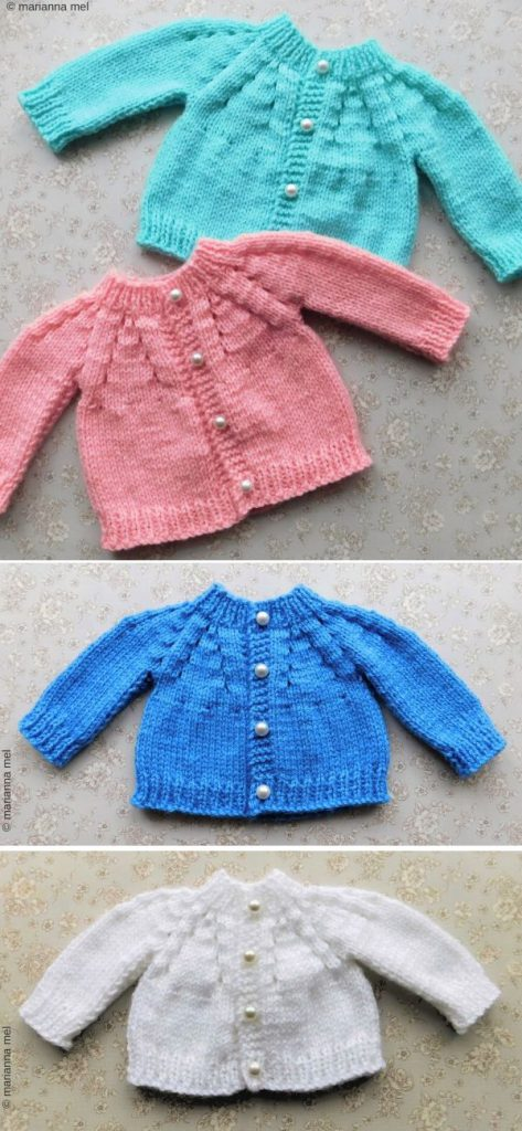 Lazy Daisy All-in-One Baby Cardigan Free Knitting Pattern