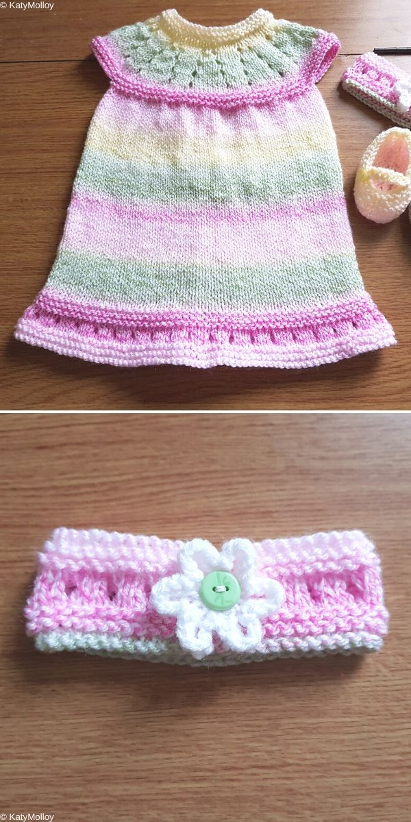 Lazy Daisy All-in-One Baby Dress Knitting Pattern