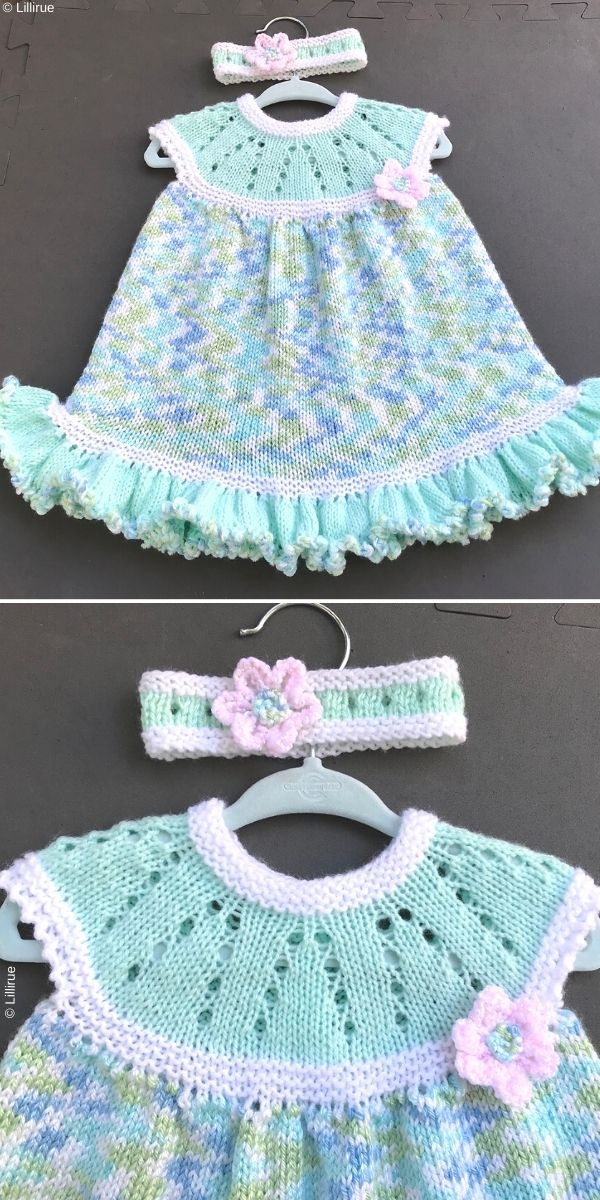 Lazy Daisy All-in-One Baby Dress Knitting Pattern_2