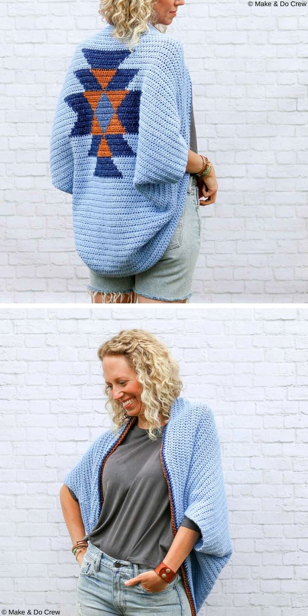 Navajo Blanket Shrug Free Crochet Pattern