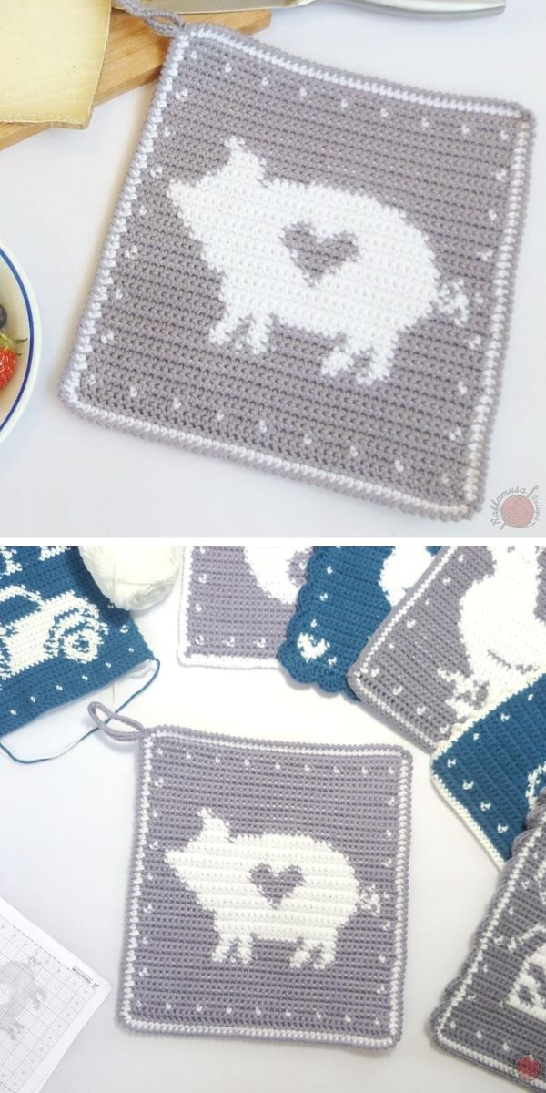 Pig Potholder Free Crochet Pattern