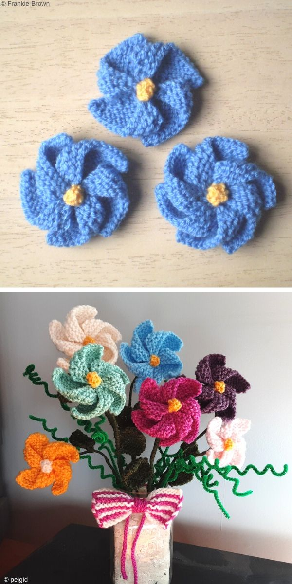 Pinwheel Flowers Free Knitting Pattern