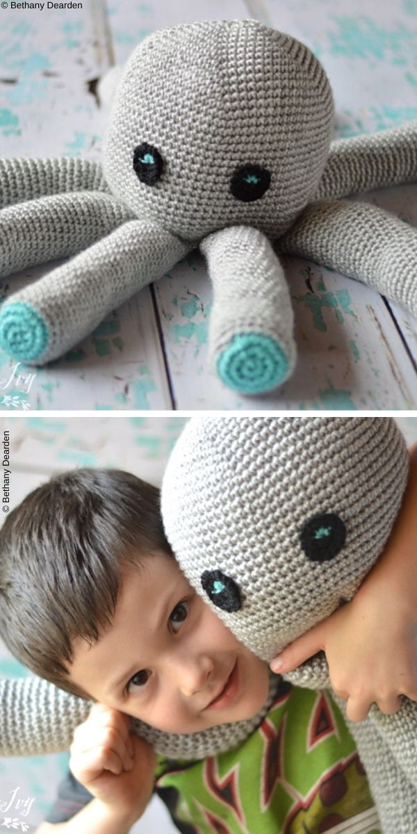 Plush Octopus Toy Free Crochet Pattern