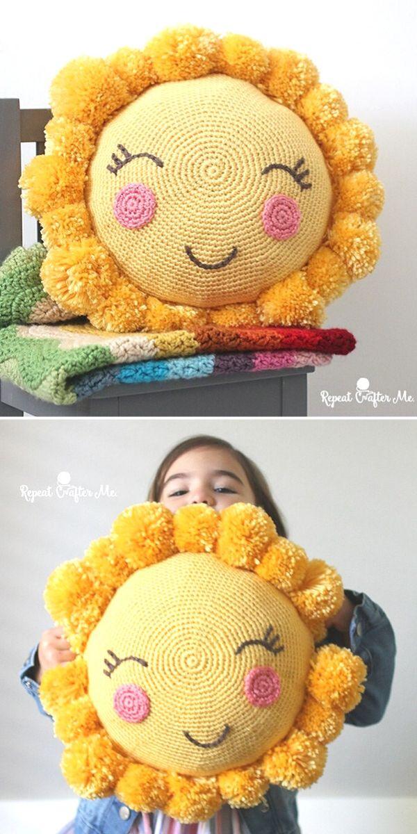 PomPom Sunshine Pillow Free Crochet Pattern