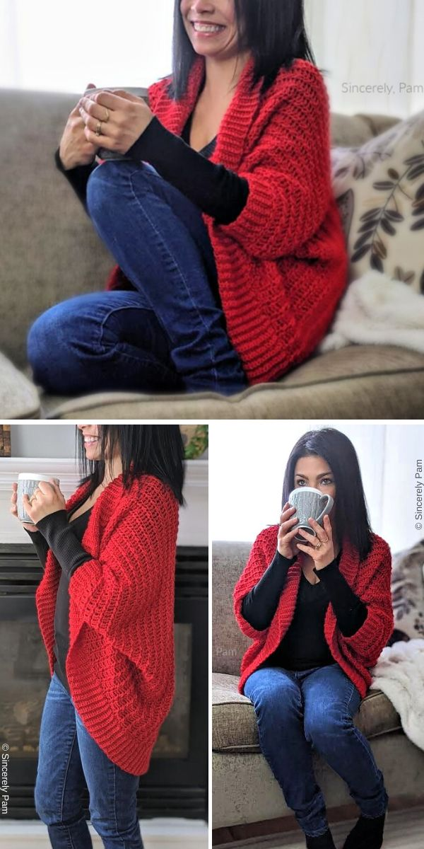 Ragged Falls Cocoon Shrug (Ladies) Free Crochet Pattern