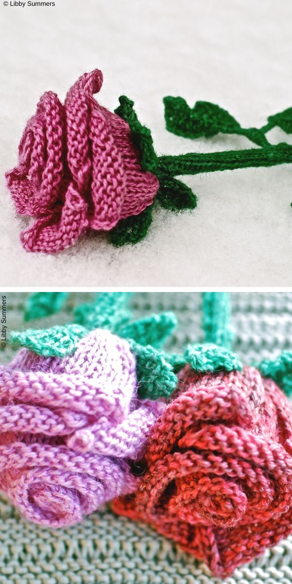 Rose Free Knitting Pattern