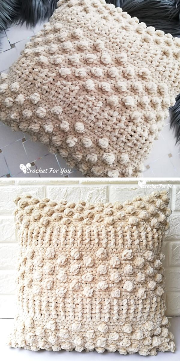 Sandy Bobble Throw Pillow Free Crochet Pattern