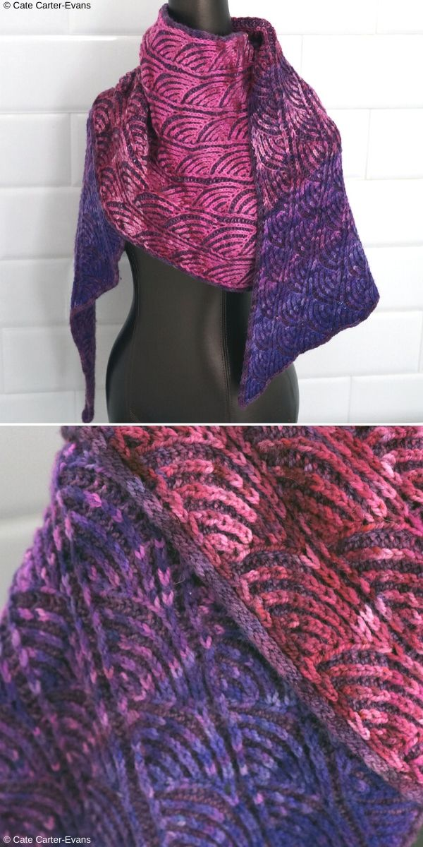 Sashiko Brioche Wrap Free Knitting Pattern