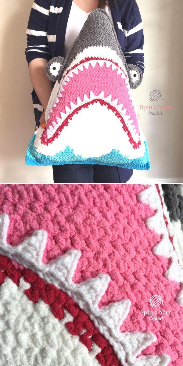 Shark Pillow Free Crochet Pattern