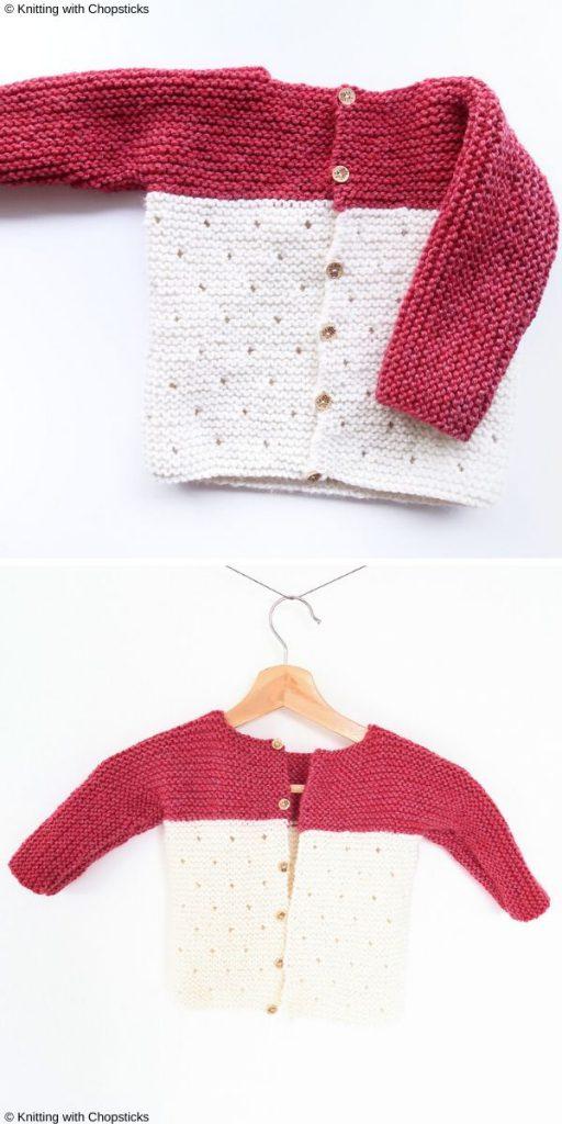 Strawberry Seed Baby Sweater Free Knitting Pattern