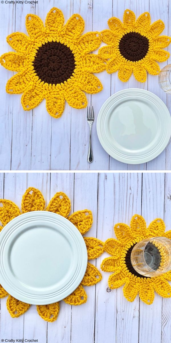 Sunflower Placemats Free Crochet Pattern