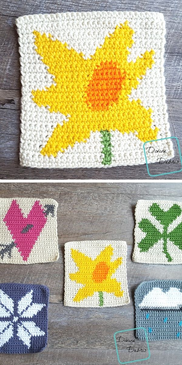 Tapestry Daffodil Afghan Square Free Crochet Pattern