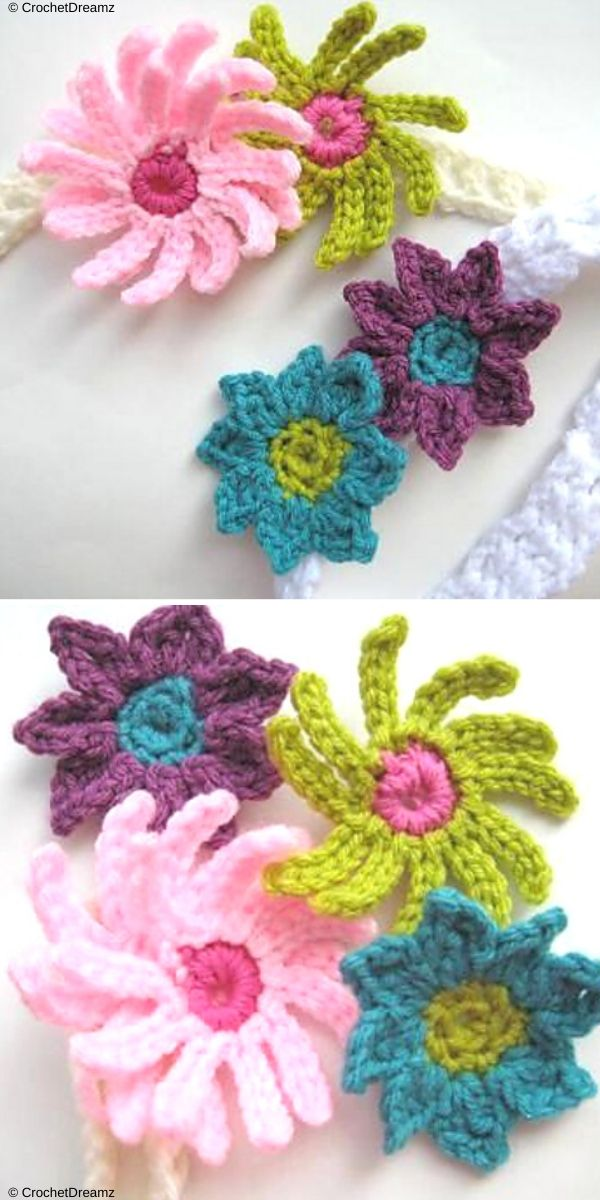 Baby Headbands with Flowers Free Crochet Pattern