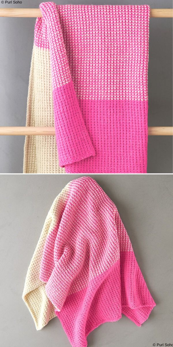 Colorblock Jute Stitch Blanket Free Knitting Pattern