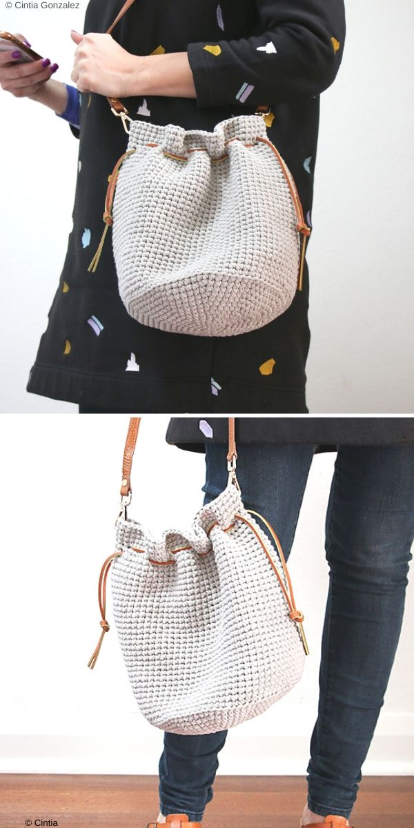 Drawstring Bucket Bags Free Crochet Pattern